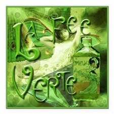 "La Fee Verte Collage Square Car Magnet 3"" x 3"""