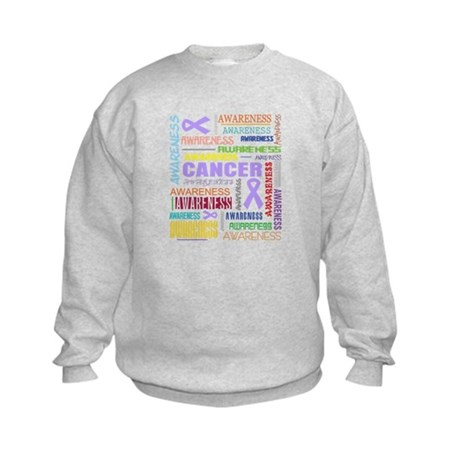 General Cancer Awareness Collage Kids Sweatshirt