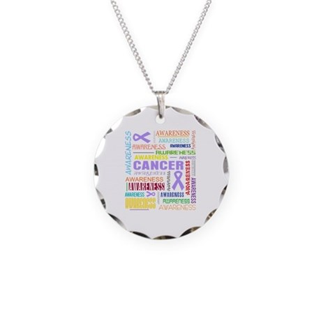 General Cancer Awareness Collage Necklace Circle C