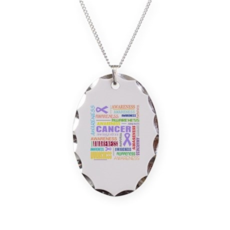 General Cancer Awareness Collage Necklace Oval Cha