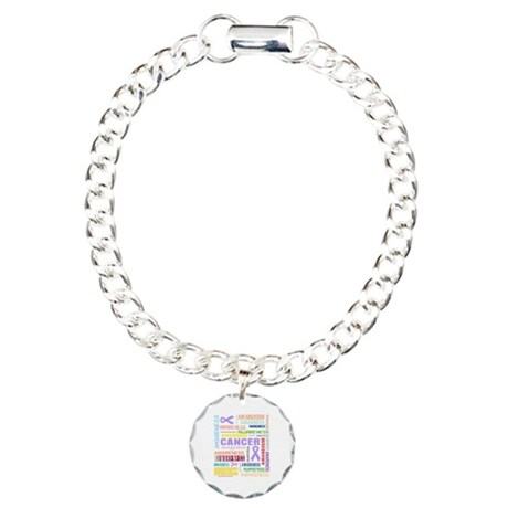 General Cancer Awareness Collage Charm Bracelet, O