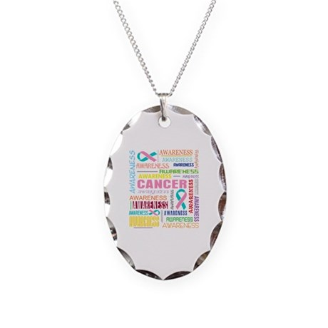Hereditary Breast Cancer Awareness Necklace Oval C