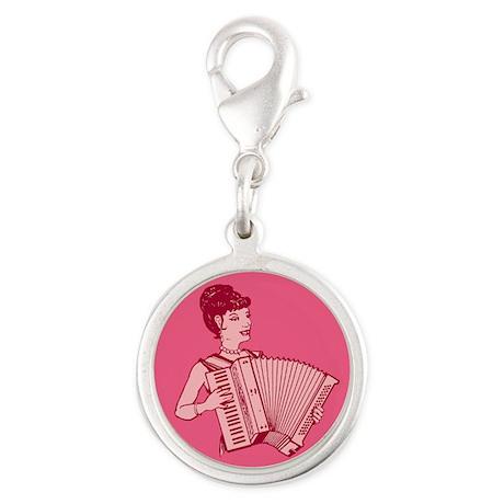 Retro Accordion Lady Pink Silver Round Charm