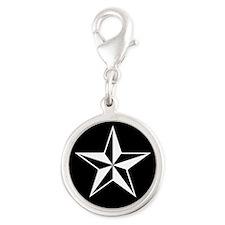 Nautical Star Silver Round Charm