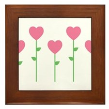 Heart Flowers Framed Tile