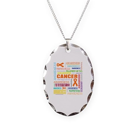 Leukemia Awareness Collage Necklace Oval Charm