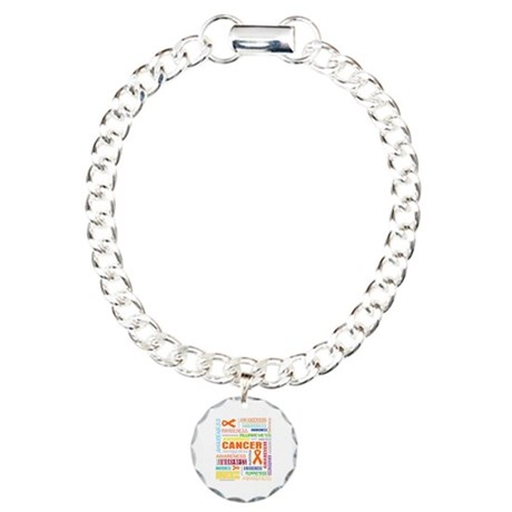 Leukemia Awareness Collage Charm Bracelet, One Cha