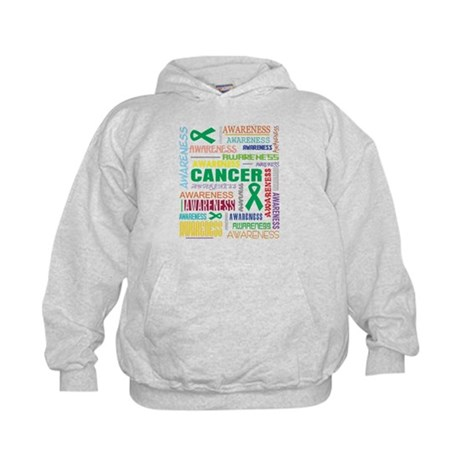 Liver Cancer Awareness Collage Kids Hoodie