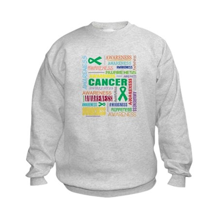 Liver Cancer Awareness Collage Kids Sweatshirt
