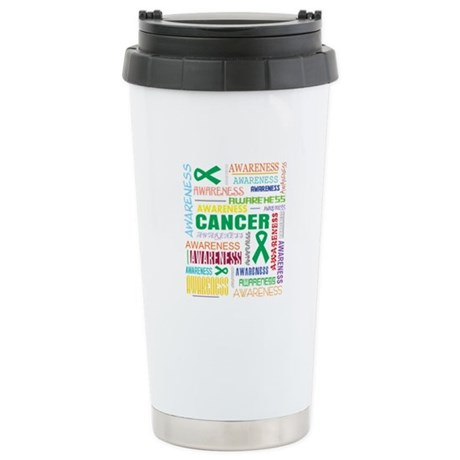Liver Cancer Awareness Collage Ceramic Travel Mug