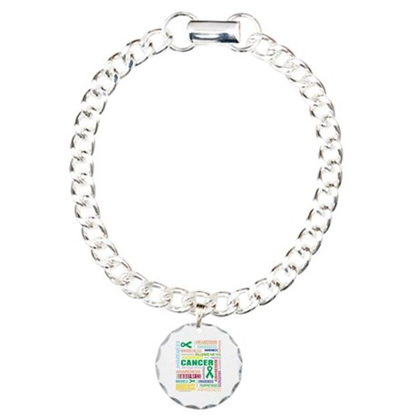 Liver Cancer Awareness Collage Charm Bracelet, One