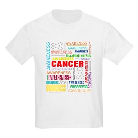 Lung Cancer Awareness Collage Kids Light T-Shirt