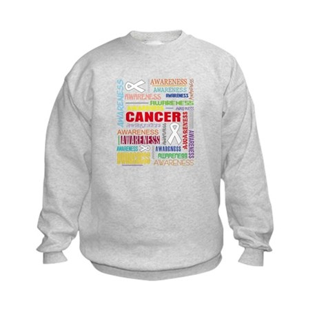 Lung Cancer Awareness Collage Kids Sweatshirt
