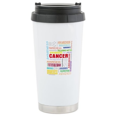Lung Cancer Awareness Collage Ceramic Travel Mug