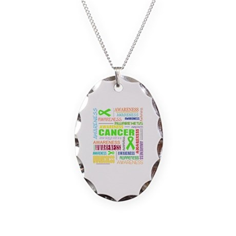 Lymphoma Awareness Collage Necklace Oval Charm