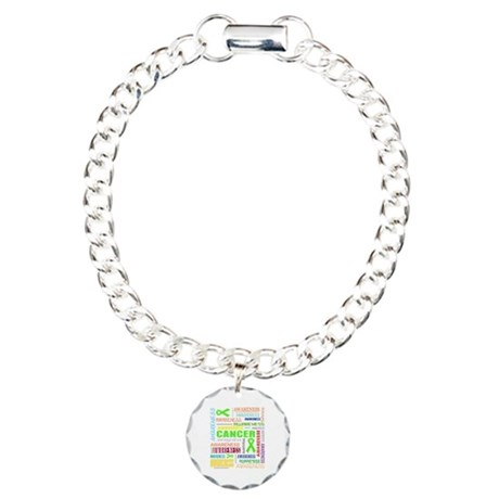 Lymphoma Awareness Collage Charm Bracelet, One Cha