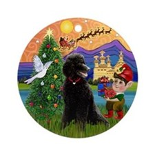 Xmas Fantasy & Black Poodle (ST) Ornament (Round)