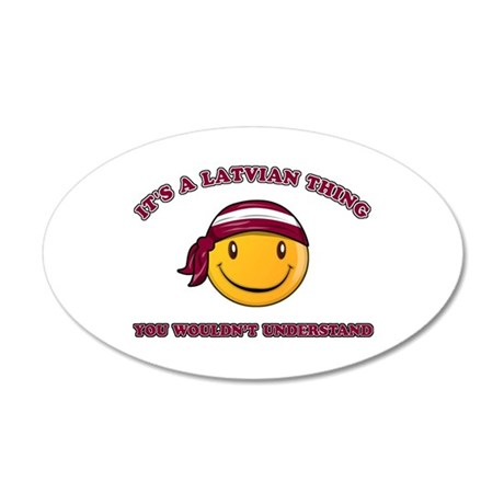 Latvian Smiley Designs 20x12 Oval Wall Decal
