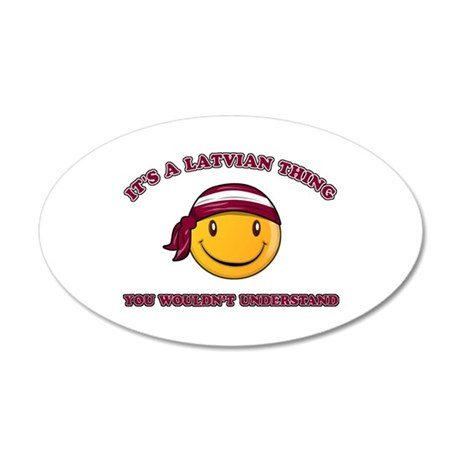 Latvian Smiley Designs 35x21 Oval Wall Decal