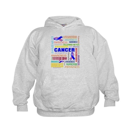 Male Breast Cancer Awareness Collage Kids Hoodie
