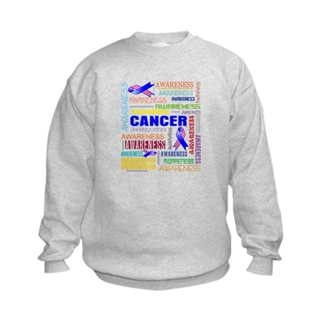 Male Breast Cancer Awareness Collage Kids Sweatshi