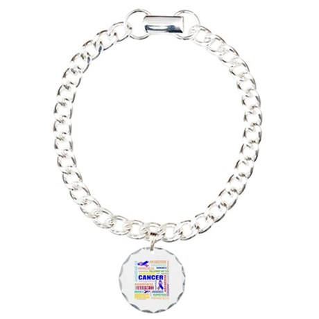 Male Breast Cancer Awareness Collage Charm Bracele