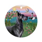 Lighthouse & Blue Great Dane Ornament (Round)