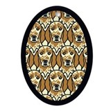 Orange English Setters Oval Ornament