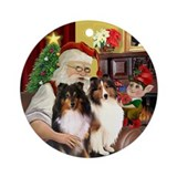 Santa's Two Shelties Ornament (Round)