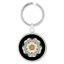 White Rose Of York Round Keychain