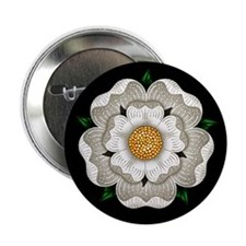 "White Rose Of York 2.25"" Button"