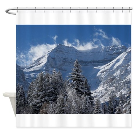 Light Blue Curtains Blackout Mountain Theme Shower Curtain