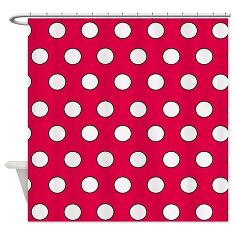 Red Polka Dot Shower Curtain By Poptopia1