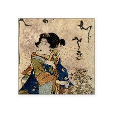 "Vintage Japanese Art Woman Square Sticker 3"" x 3"""