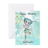 goddaughter cute fairy birthday greeting card aqua