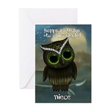 Niece Cute Owl Birthday Greeting Card