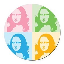 Mona Lisa Pop Art Round Car Magnet