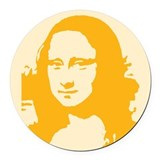 mona_lisa_tile_yellow.gif Round Car Magnet