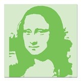 "mona_lisa_tile_green.gif Square Car Magnet 3"" x 3"""