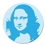 mona_lisa_tile_blue.gif Round Car Magnet