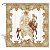 vintag-woman-on-bench_pillow.png Shower Curtain