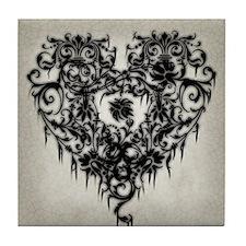 Ornate Gothic Heart Tile Coaster