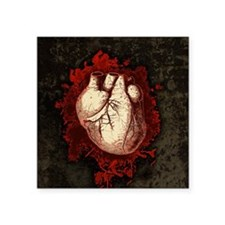 """Grungy Red Human Heart Square Sticker 3"""" x 3"""""""