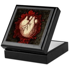 Grungy Red Human Heart Keepsake Box