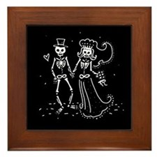 Skeleton Bride And Groom Framed Tile