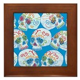 sugar-skull-allover_b.png Framed Tile