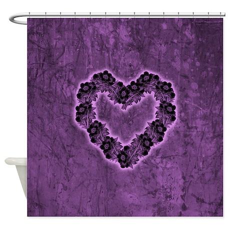 gothic purple flower heart shower curtain by