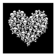 "Skull Heart Square Car Magnet 3"" x 3"""