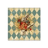 "white-rabbit-vintage_b.jpg Square Sticker 3"" x 3"""
