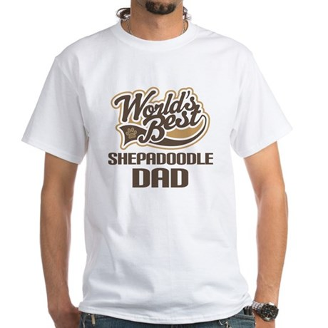 Shepadoodle Dog Dad White T-Shirt